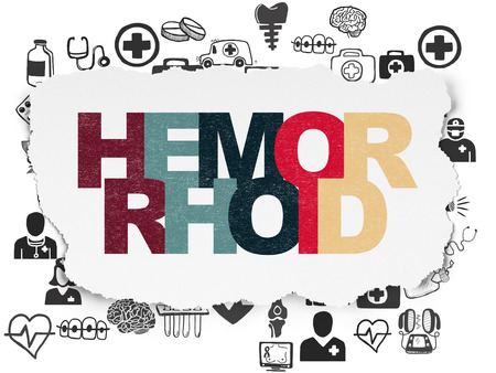 hemorrhoid: Medicine concept: Painted multicolor text Hemorrhoid on Torn Paper background with  Hand Drawn Medicine Icons