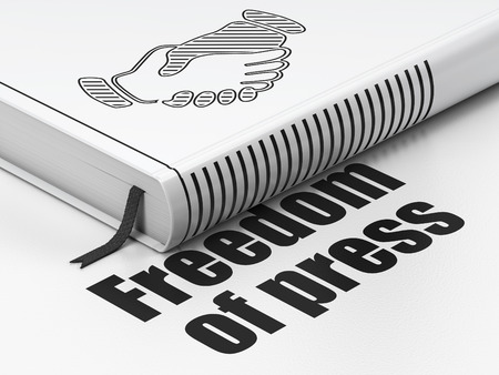 black handshake: Politics concept: closed book with Black Handshake icon and text Freedom Of Press on floor, white background, 3D rendering Stock Photo