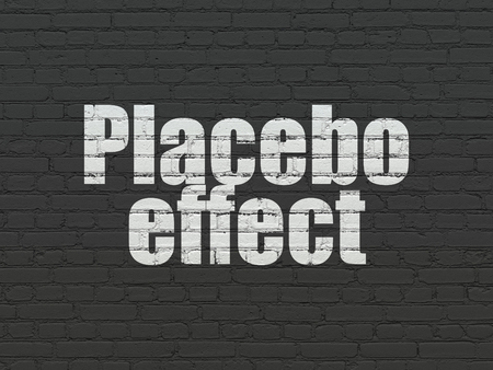 placebo: Health concept: Painted white text Placebo Effect on Black Brick wall background