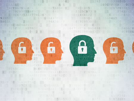 padlock icon: Business concept: row of Painted orange head with padlock icons around green head with padlock icon on Digital Paper background