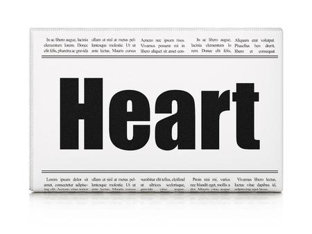 newspaper headline: Medicine concept: newspaper headline Heart on White background, 3D rendering Stock Photo