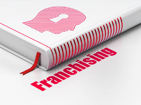 franchising: Business concept: closed book with Red Head With Keyhole icon and text Franchising on floor, white background, 3D rendering