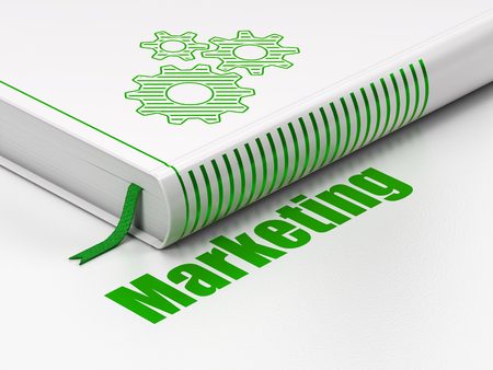 closed ribbon: Marketing concept: closed book with Green Gears icon and text Marketing on floor, white background, 3D rendering