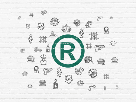 r regulation: Law concept: Painted green Registered icon on White Brick wall background with  Hand Drawn Law Icons Stock Photo