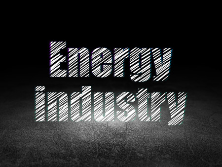dirty room: Industry concept: Glowing text Energy Industry in grunge dark room with Dirty Floor, black background