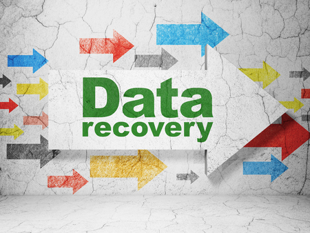 data recovery: Information concept:  arrow with Data Recovery on grunge textured concrete wall background, 3D rendering