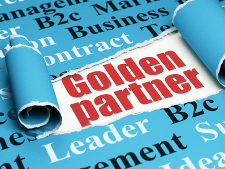Finance concept: red text Golden Partner under the curled piece of Blue torn paper with  Tag Cloud, 3D rendering