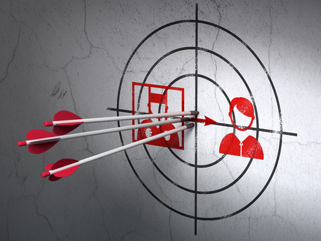 goal cage: Success law concept: arrows hitting the center of Red Criminal Freed target on wall background, 3D rendering