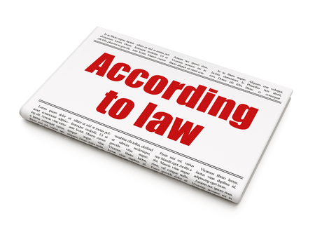 according: Law concept: newspaper headline According To Law on White background, 3D rendering
