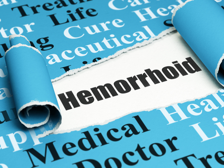 hemorrhoid: Health concept: black text Hemorrhoid under the curled piece of Blue torn paper with  Tag Cloud, 3D rendering