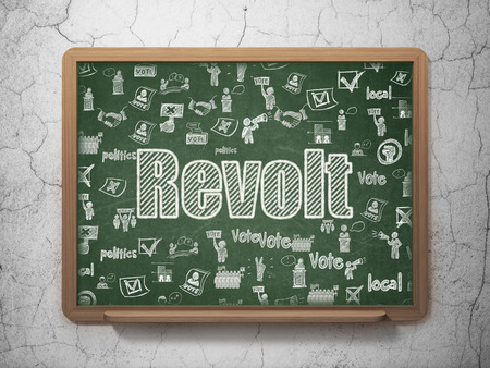 revolt: Political concept: Chalk White text Revolt on School board background with  Hand Drawn Politics Icons, 3D Rendering Stock Photo
