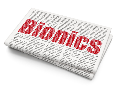 bionics: Science concept: Pixelated red text Bionics on Newspaper background, 3D rendering Stock Photo