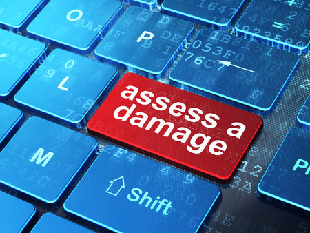 assess: Insurance concept: computer keyboard with word Assess A Damage on enter button background, 3D rendering Stock Photo