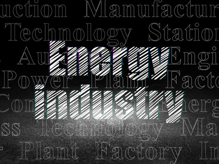 dirty room: Industry concept: Glowing text Energy Industry in grunge dark room with Dirty Floor, black background with  Tag Cloud
