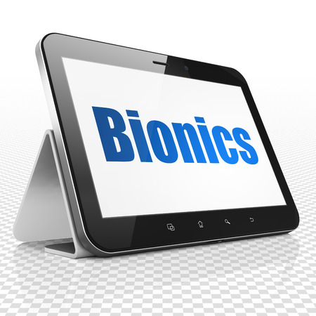bionics: Science concept: Tablet Computer with blue text Bionics on display, 3D rendering Stock Photo