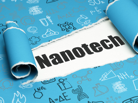 nanotech: Science concept: black text Nanotech under the curled piece of Blue torn paper with  Hand Drawn Science Icons, 3D rendering