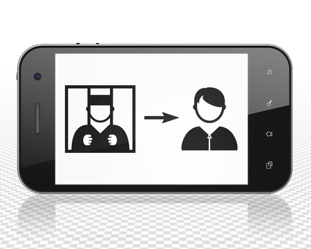 freed: Law concept: Smartphone with black Criminal Freed icon on display, 3D rendering Stock Photo