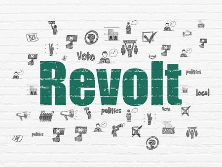revolt: Political concept: Painted green text Revolt on White Brick wall background with  Hand Drawn Politics Icons