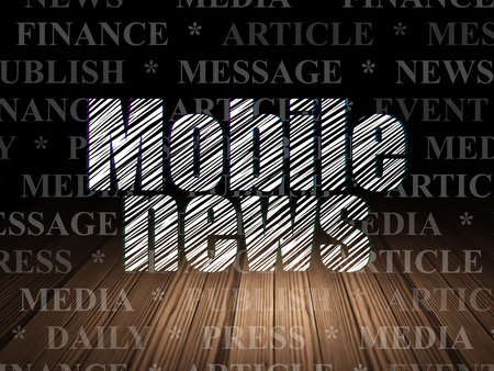 news room: News concept: Glowing text Mobile News in grunge dark room with Wooden Floor, black background with  Tag Cloud