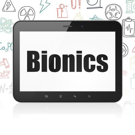 bionics: Science concept: Tablet Computer with  black text Bionics on display,  Hand Drawn Science Icons background, 3D rendering