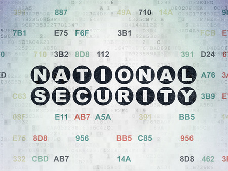 privat: Privacy concept: Painted black text National Security on Digital Paper background with Hexadecimal Code
