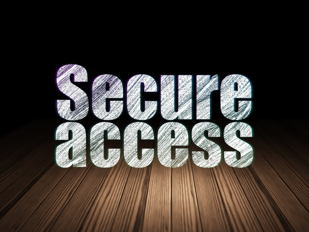 room access: Safety concept: Glowing text Secure Access in grunge dark room with Wooden Floor, black background