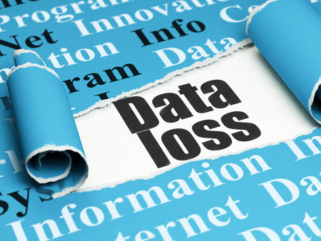 data loss: Data concept: black text Data Loss under the curled piece of Blue torn paper with  Tag Cloud, 3D rendering Stock Photo
