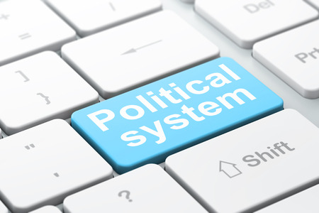 political system: Politics concept: computer keyboard with word Political System, selected focus on enter button background, 3D rendering