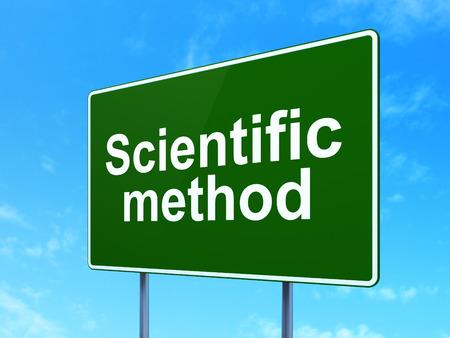 metodo cientifico: Concepto de la ciencia: M�todo cient�fico de la muestra de la carretera camino verde, fondo claro de cielo azul, 3D