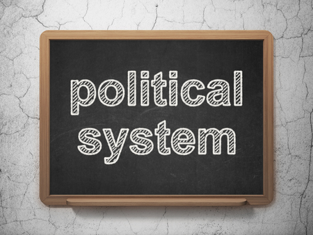 political system: Political concept: text Political System on Black chalkboard on grunge wall background, 3D rendering