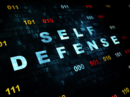cyber defence: Security concept: Pixelated blue text Self Defense on Digital wall background with Binary Code