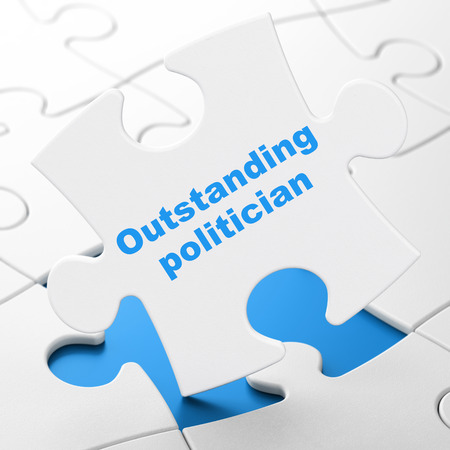 outstanding: Political concept: Outstanding Politician on White puzzle pieces background, 3D rendering Stock Photo