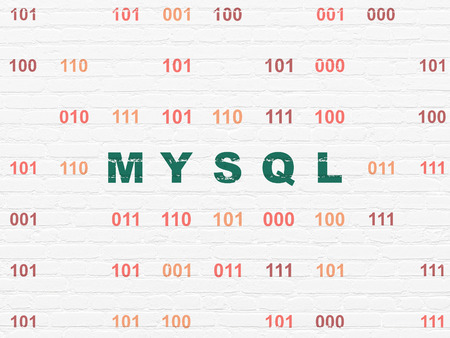 mysql: Software concept: Painted green text MySQL on White Brick wall background with Binary Code