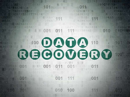 data recovery: Data concept: Painted green text Data Recovery on Digital Data Paper background with Binary Code