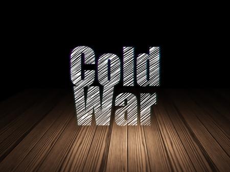 cold war: Politics concept: Glowing text Cold War in grunge dark room with Wooden Floor, black background Stock Photo