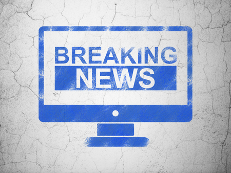 news flash: News concept: Blue Breaking News On Screen on textured concrete wall background Stock Photo