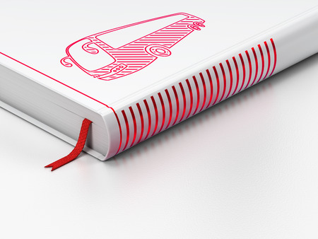 closed ribbon: Travel concept: closed book with Red Bus icon on floor, white background, 3D rendering