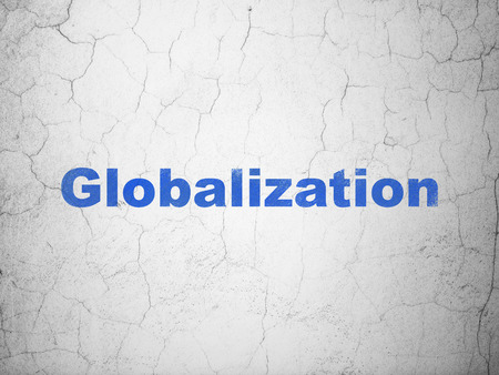 globalization: Finance concept: Blue Globalization on textured concrete wall background