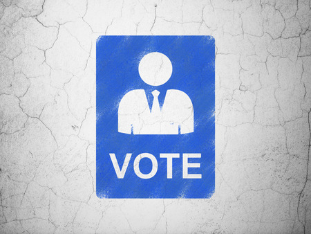dictatorship: Political concept: Blue Ballot on textured concrete wall background
