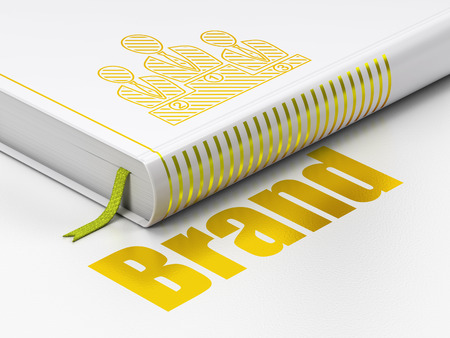 book concept: Marketing concept: closed book with Gold Business Team icon and text Brand on floor, white background, 3D rendering