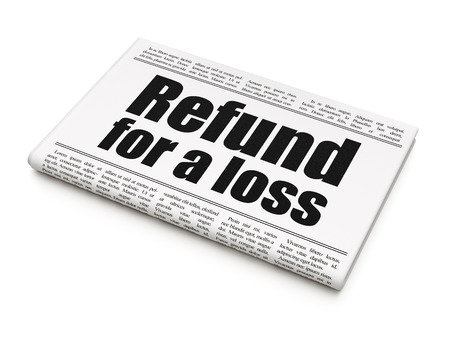newspaper headline: Insurance concept: newspaper headline Refund For A Loss on White background, 3D rendering Stock Photo