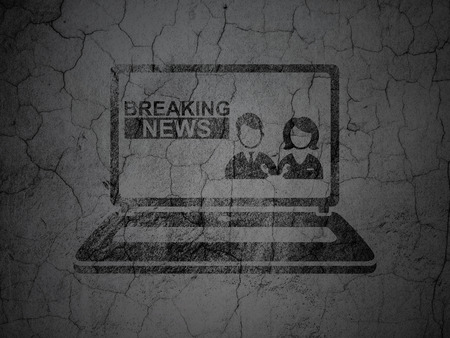 good news: News concept: Black Breaking News On Laptop on grunge textured concrete wall background Stock Photo