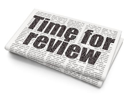cronologia: Concepto de tiempo: el tiempo pixelada texto negro sobre fondo de Revisión Periódico, 3D Foto de archivo