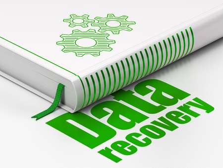 data recovery: Data concept: closed book with Green Gears icon and text Data Recovery on floor, white background, 3D rendering