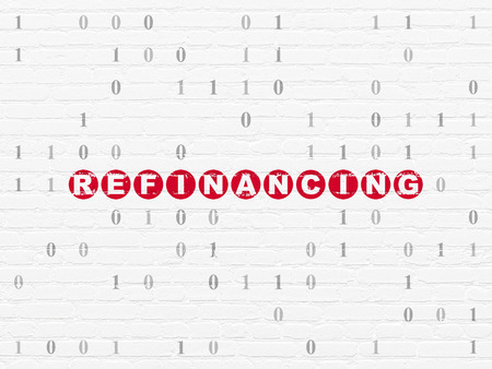 refinancing: Business concept: Painted red text Refinancing on White Brick wall background with Binary Code Stock Photo