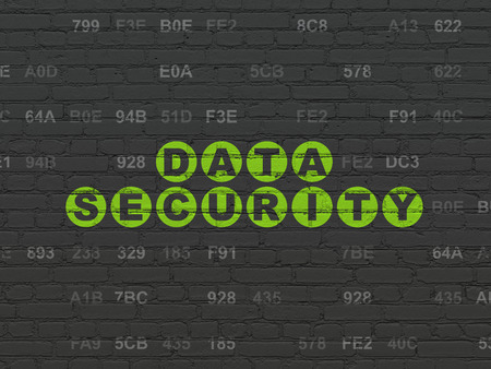 hexadecimal: Safety concept: Painted green text Data Security on Black Brick wall background with Hexadecimal Code
