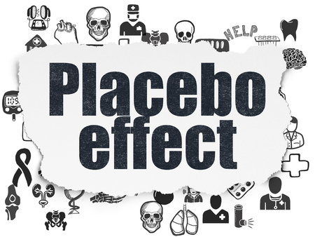 placebo: Health concept: Painted black text Placebo Effect on Torn Paper background with  Hand Drawn Medicine Icons