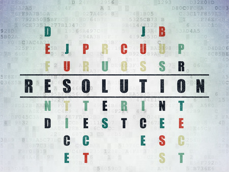 data protection act: Law concept: Painted black word Resolution in solving Crossword Puzzle on Digital Data Paper background