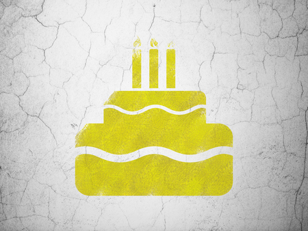 holiday background: Holiday concept: Yellow Cake on textured concrete wall background