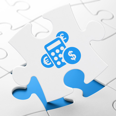 brainteaser: News concept: Calculator on White puzzle pieces background, 3D rendering
